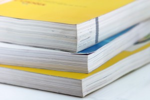 Stack of bound reports