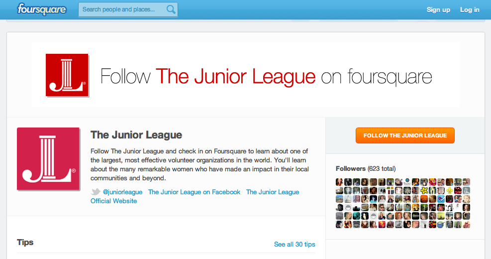 Foursquare page of The Association of Junior Leagues International, Inc.