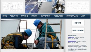 Midwest Renewable Energy Association homepage with logo obscured