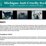 Partial screen grab of MIchigan Anti-Cruelty Society website