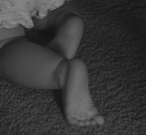 feet of a baby crawling