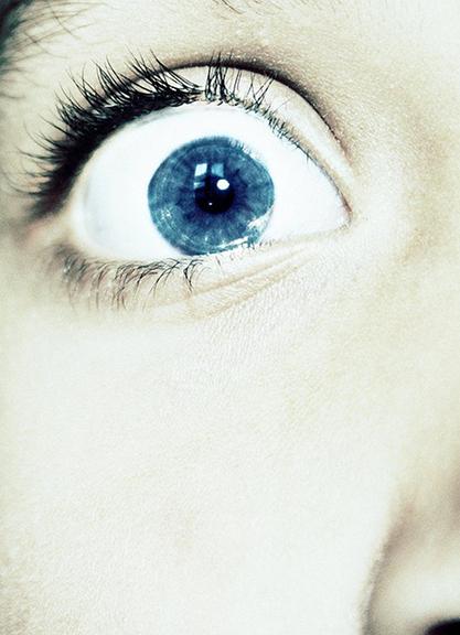 Blue eye expressing fear