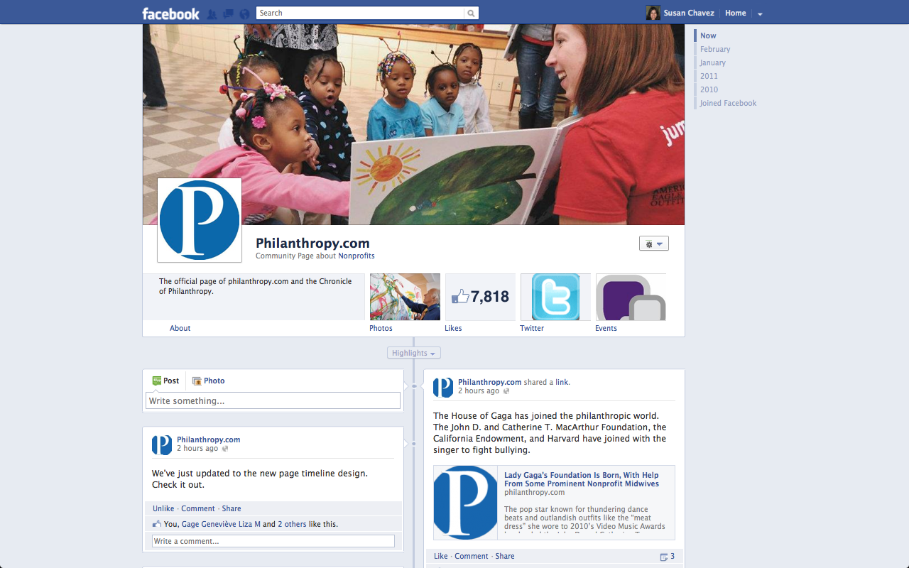 Facebook Timeline Page for The Chronicle of Philanthropy's