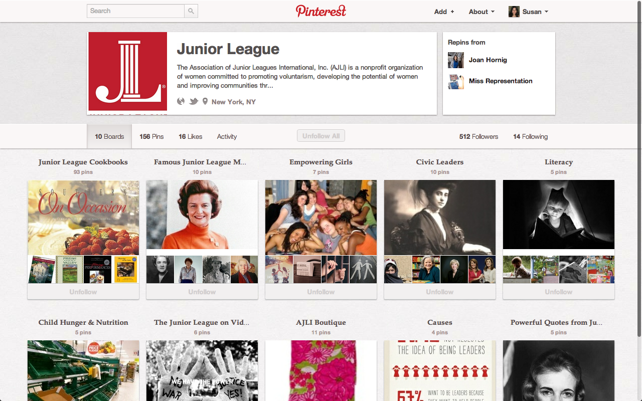 Social media example featuring Pinterest account of The Junior League